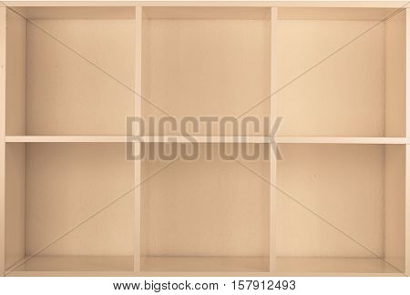 Empty Bookcase library. Toned Image