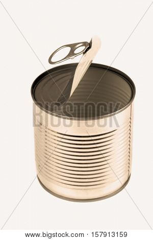 Open empty metal tin can. Toned Image