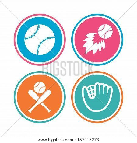 Baseball sport icons. Ball with glove and two crosswise bats signs. Fireball symbol. Colored circle buttons. Vector