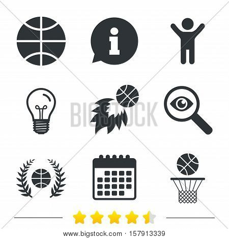 Basketball sport icons. Ball with basket and fireball signs. Laurel wreath symbol. Information, light bulb and calendar icons. Investigate magnifier. Vector