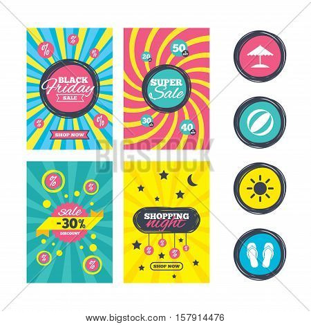 Sale website banner templates. Beach holidays icons. Ball, umbrella and flip-flops sandals signs. Summer sun symbol. Ads promotional material. Vector