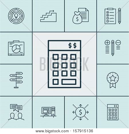 Set Of Project Management Icons On Discussion, Investment And Money Topics. Editable Vector Illustra
