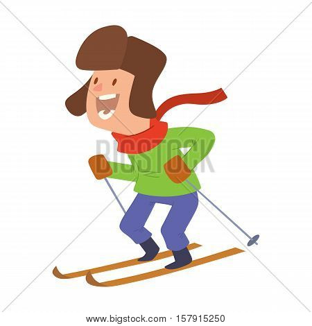 Christmas boy playing winter games. skiing. Cartoon New Year winter holidays background.