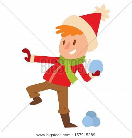 Christmas kid playing winter games. boy is playing snowballs. . Cartoon New Year winter holidays background.
