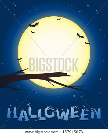 Halloween background with a bare leafless branch of a tree silhouetted against a bright full moon with circling bats at twilight with twinkling stars vector illustration