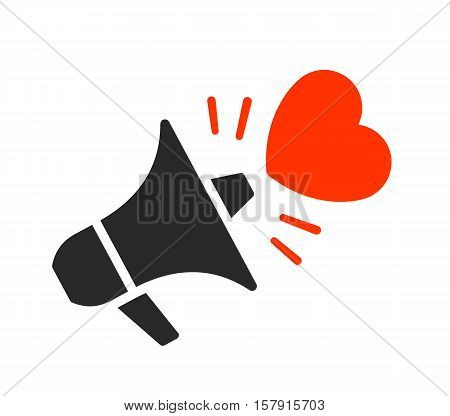 Isolated black megaphone with red heart symbol moving outward from it over white background vector illustration