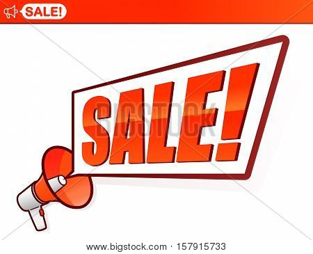 Advertising megaphone with Sale speech bubble announcing a seasonal markdown or discount in a store or on the web with a top banner icon vector illustration