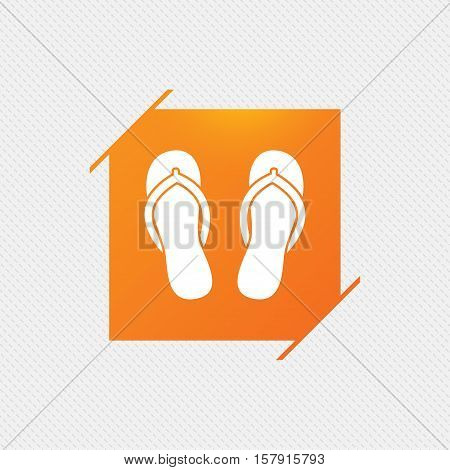 Flip-flops sign icon. Beach shoes. Sand sandals. Orange square label on pattern. Vector
