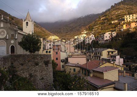 View of Riomaggiore Cinque Terre Italy, cloudy
