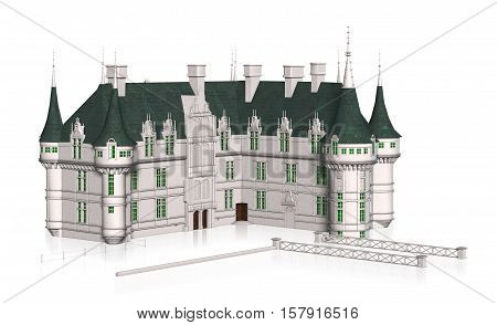 3D illustration of a French Chateaux Azay le Rideau isolated background.