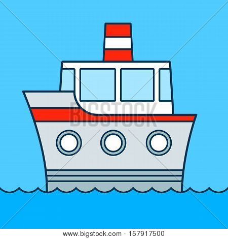 Cute cartoon ship cruising on water with three portholes and funnel colored vector illustration