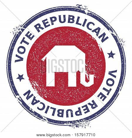 Grunge Broken Republican Elephants Rubber Stamp. Usa Presidential Election Patriotic Seal With Broke