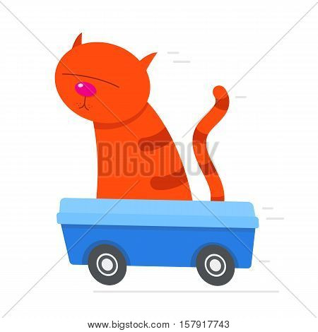 Cartoon red cat sitting in its litter box driving at speed with motion lines behind vector illustration
