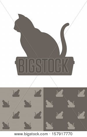 Cat sitting on a litter box silhouette icon as a single design element and in two different colour variations of a seamless background pattern vector illustration