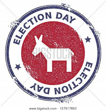 Grunge Broken Democrat Donkeys Rubber Stamp. Usa Presidential Election Patriotic Seal With Broken De