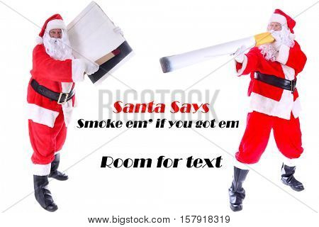 Smoking Hot Santa Claus.  Santa holds a Giant Cigarette as if he is Smoking While the Other Santa Claus strikes a match to light it for his friend. Isolated on white with room for your text.