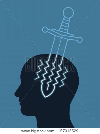 Headache concept with a jagged sword representing pain waves piercing a silhouetted head in profile on a blue background healthcare and medical vector illustration
