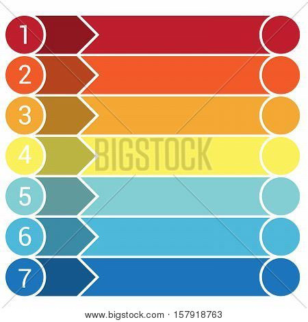 Template Infographic the numbered colourful horizontal strips arrows points area for text seven positions.
