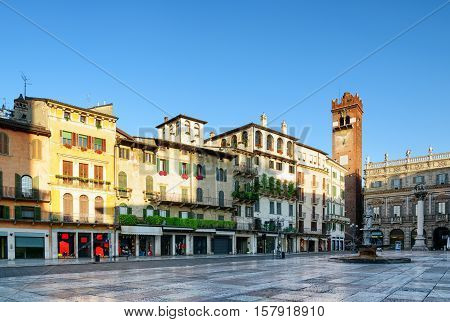 View Of Piazza Delle Erbe In Verona (italy) In Early Morning