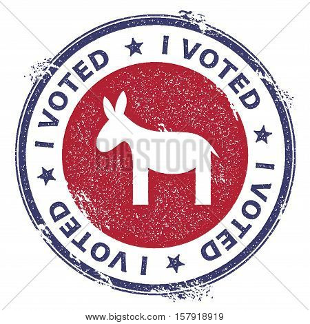 Grunge Democrat Donkeys Rubber Stamp. Usa Presidential Election Patriotic Seal With Democrat Donkeys