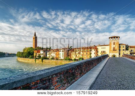 View Of Waterfront Of Adige River From Ponte Pietra, Verona