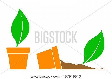 Two potted plant icons with green leaves one fallen on its side with the soil spilling out simple silhouette vector illustration