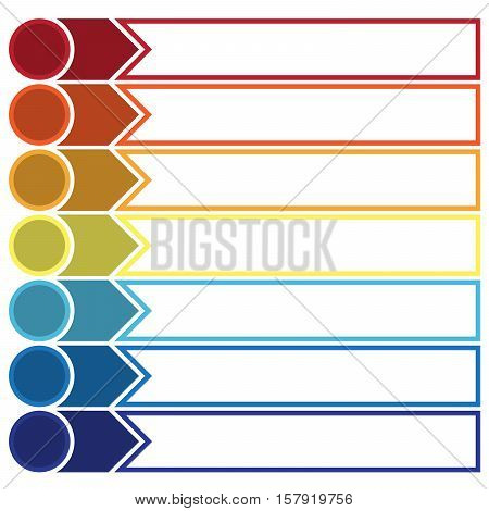 Template Infographic the numbered colourful horizontal strips and lines arrows points area for text seven positions.