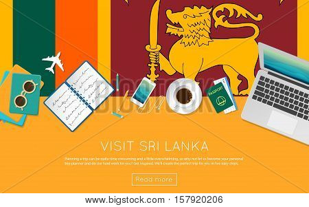 Visit Sri Lanka Concept For Your Web Banner Or Print Materials. Top View Of A Laptop, Sunglasses And