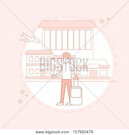 Traveler Man Airport Hall Departure Terminal Travel Baggage Suitcase, Passenger With Luggage Vector Illustration