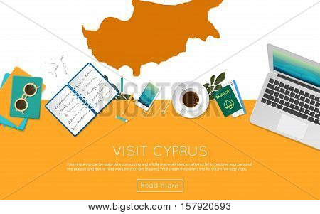 Visit Cyprus Concept For Your Web Banner Or Print Materials. Top View Of A Laptop, Sunglasses And Co