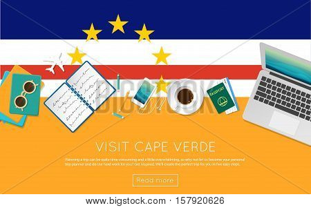 Visit Cape Verde Concept For Your Web Banner Or Print Materials. Top View Of A Laptop, Sunglasses An