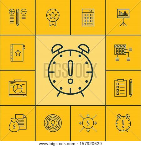 Set Of Project Management Icons On Board, Schedule And Present Badge Topics. Editable Vector Illustr