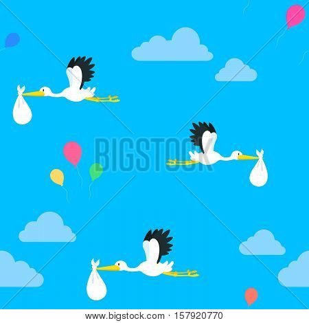 Seamless vector background pattern of flying storks and colorful party balloons floating in a blue sky with clouds in square format suitable for textile, print and a tile