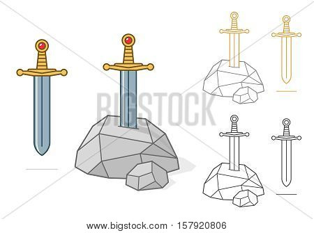 Vector illustration of excalibur theme sword and stone as colored and outlined icon avatar or symbol over white background