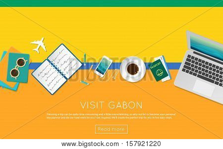 Visit Gabon Concept For Your Web Banner Or Print Materials. Top View Of A Laptop, Sunglasses And Cof