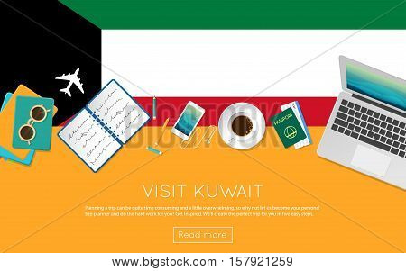 Visit Kuwait Concept For Your Web Banner Or Print Materials. Top View Of A Laptop, Sunglasses And Co
