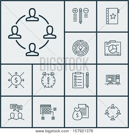 Set Of Project Management Icons On Report, Computer And Reminder Topics. Editable Vector Illustratio
