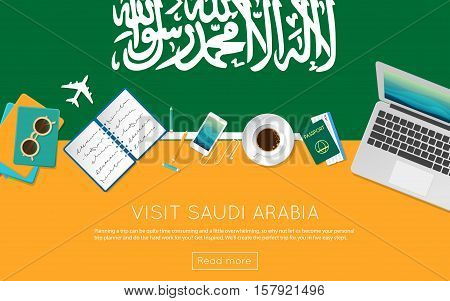 Visit Saudi Arabia Concept For Your Web Banner Or Print Materials. Top View Of A Laptop, Sunglasses