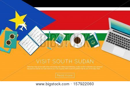 Visit South Sudan Concept For Your Web Banner Or Print Materials. Top View Of A Laptop, Sunglasses A