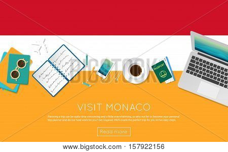 Visit Monaco Concept For Your Web Banner Or Print Materials. Top View Of A Laptop, Sunglasses And Co