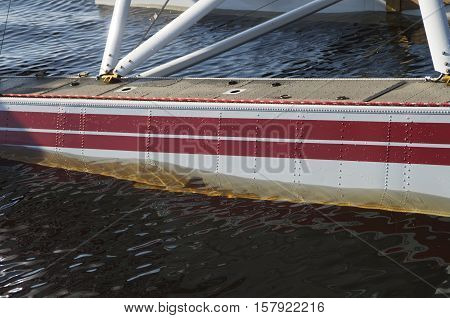 A close up of a poonton of a Maule Seaplane at a festival in BridgetonNorth Carolina