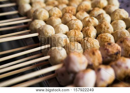 chicken meat, food, grill, meat ball, snack, street food