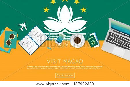 Visit Macao Concept For Your Web Banner Or Print Materials. Top View Of A Laptop, Sunglasses And Cof
