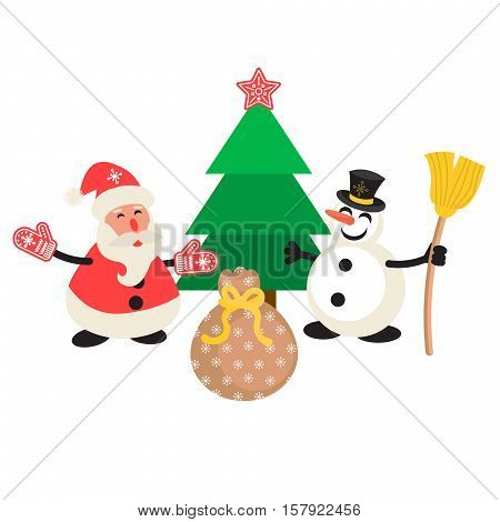Santa Claus and Snowman cartoon vector illustration. New Year personages in front of tree and gift bag.