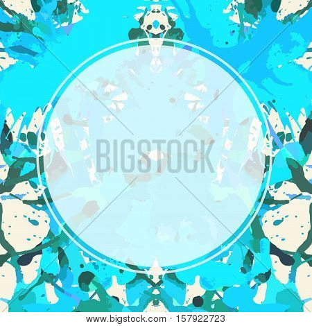 Template with semi-transparent white circle over bright blue colorful artistic paint splashes ready for your text.