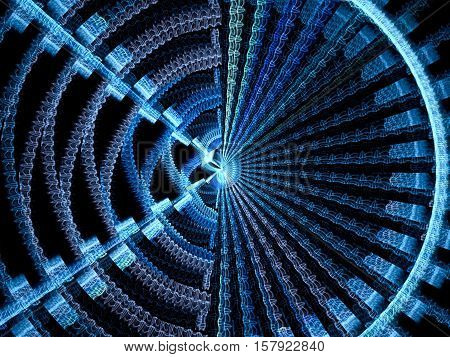 Fractal disc - abstract computer-generated image. Digital art: tech style design with circle and rays. Asymmetric blue pattern.