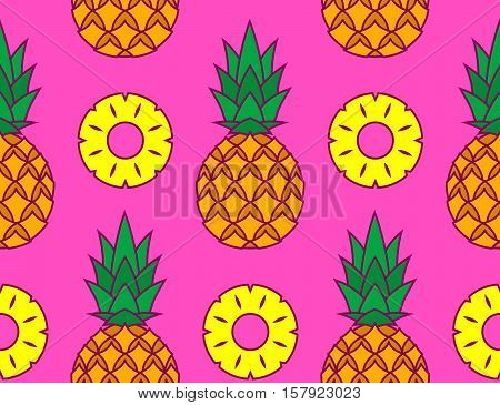 Tropical summer themed vector pattern of pineapples and its slices over pink background