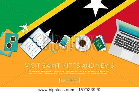 Visit Saint Kitts And Nevis Concept For Your Web Banner Or Print Materials. Top View Of A Laptop, Su