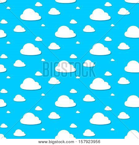 Seamless vector illustration of cloudy sky pattern on blue background
