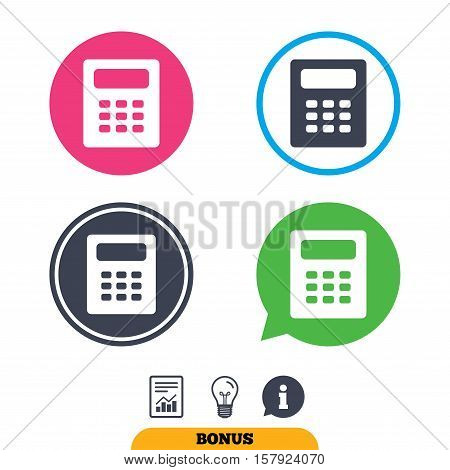 Calculator sign icon. Bookkeeping symbol. Report document, information sign and light bulb icons. Vector
